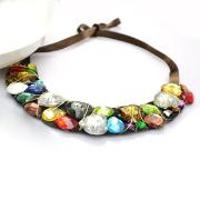 Fashion Jewelry Ideas- Making a Bib Rhinestone Necklace with Colourful Glass Beads for Women