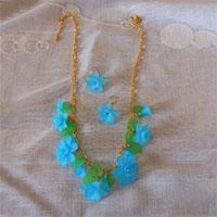 How to Make Beaded Jewelry Instructions - DIY Floral Necklace and Chain Earrings Set