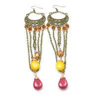 Free Tutorial on Making Long Chain Vintage Earrings with Gemstones