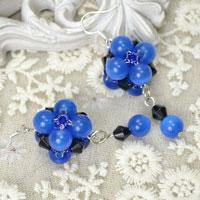 Make Easy Bead Earrings with Blue Cat Eye Glass Beads and Crystals