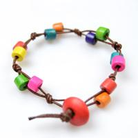 Tutorial on Making Rainbow Wooden Bead Bracelet with Simple Knots