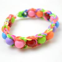 How to Make Rainbow Rubber Band Bracelet with Acrylic Beads