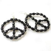 How to Make Black Peace Sign Beaded Hoop Earrings Step by Step