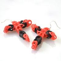 2 Steps Tutorial on How to Make Rubber Band Cross Earrings without a Loom