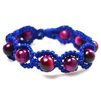 How to Make a Blue Shamballa Style Bracelet with Fuchsia Tiger Eye Beads