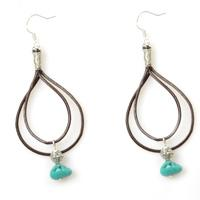 Easy Jewelry Pattern- How to Make Double Drop Leather Earrings with Turquoise