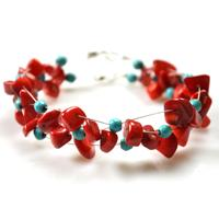 How to Make a Criss Cross Bracelet with Coral and Turquoise Beads
