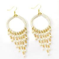 How To Make White Beaded Tel Earrings For Beginners