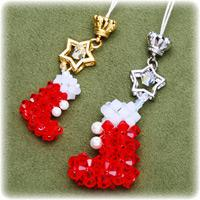 Christmas jewelry ideas- make Christmas stocking pendant with several beads