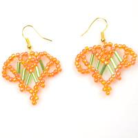 How to Make Bugle Beaded Orange Heart Earrings with Seed Beads
