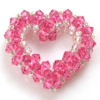 How to Make a 3D Crystal Beaded Heart Pendant Step by Step