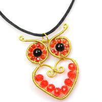How to Make a Golden Wire Wrapped Owl Pendant with Beads