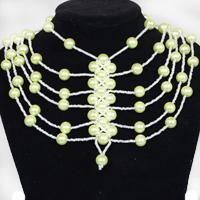 How to Make a Multi Strand Waterfall Pale Green Pearl Necklace