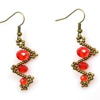 How to Make Simple Twist Red Bead Earrings