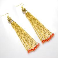 2 Easy Steps on How to Make Gold Long Chain Tassel Earrings with Beads