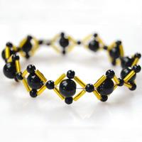 How to Make a Fashion Rhombus Bracelet for Office Lady with Black and Gold beads