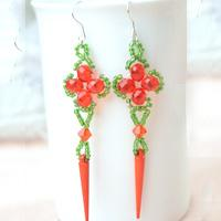 Latest Spring Fashion-Make Your Own Beautiful Beaded Long Red Earrings