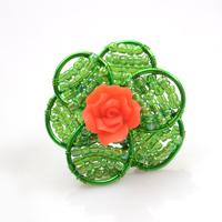 How to Make a Wire Wrapped Flower Ring with Green Seed Beads and Red Rose Bead