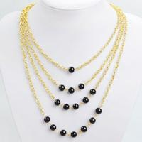 How to Make Multi Strand Gold Chain Necklace with Black Beads