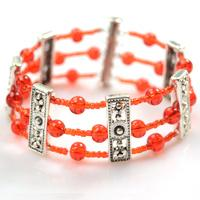 How to Make Your Own Red Multi Strand Beaded Cuff Bracelet with Silver Spacer