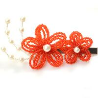 How to Make Double Red Flower Bridal Hair Accessories with seed beads and pearl beads