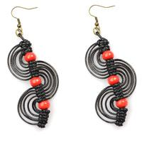 Micro Macrame Earrings Tutorial-DIY Black Macrame Spiral Earrings with Red Wood Beads