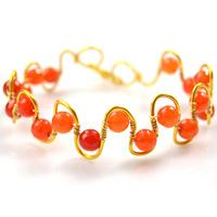 How to Make a Gold Wire Wrapped Wave Bracelet with Red Agate Beads