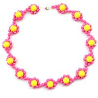 How to Make Candy Color Beaded Flower Necklace with Yellow and Hot Pink Acrylic Beads