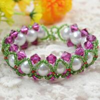 How to Make Green Seed Bead Braided Bracelet with White Pearl and Fuchsia Crystal Beads
