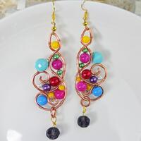 How to Make a Colored Wire Wrapped Dangling Earring with Acrylic Beads and Pearl Beads