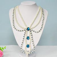 How to Make a Three Strand Blue Beaded Pearl Necklace with Rhinestone Cabochon