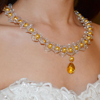 How to Make a Golden Pearl Beaded Necklace with a Gold Faceted Drop Rhinestone Cabochon