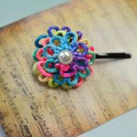 How to Knit Colorful Cheap Flower Decorative Hair Clips for Girls