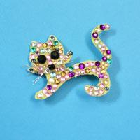 How to Make a Lovely Acrylic Rhinestone Cat Brooch Gift for Your Children