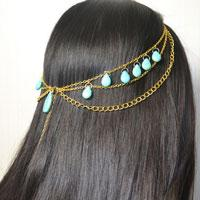 Headpiece Tutorial-How to DIY a Turquoise Chain Headpiece for Girls
