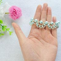 Woven Bracelet Tutorial-How to Make a Light Cyan Woven Pearl Bead Bracelet