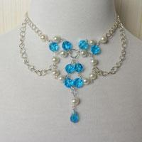 Chain Necklace Designs-How to DIY a Blue Glass Bead and Pearl Beaded Chain Necklace