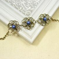 How to Make Antique Bronze Vintage Flower Chain Bracelets with Jump Rings and Pearl Beads