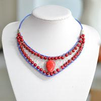 Blue Wire and Red Bead Necklace Jewelry Tutorial-An Easy DIY Project for Beginners