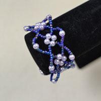 Pearl Bracelet Tutorial on Making a Purple Bead Flower Bracelet with Seed Beads