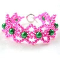 How to DIY Pink Freshwater Lace Pearl Bracelet with Green Pearl Beads