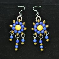 Instructions on Making a Pair of Blue-and-gold Drop Chandelier Earrings