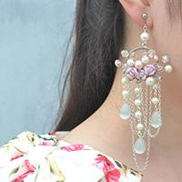 A Detailed Tutorial on a Pair of Romantic Pearl and Flower Earrings DIY