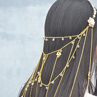 New Idea on Making a Chain Headpiece Jewelry with Flower Pendants