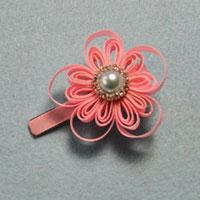 How to Make a Pink Flower Ribbon Hair Clip for Little Girls