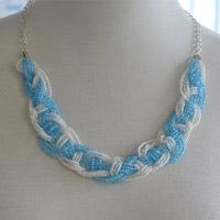 How to Make a Blue Braided Seed Bead Necklace at Home