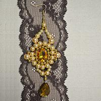 How to Make Vintage Gold Beaded Drop Earrings with Pearl Beads and Acrylic Stones