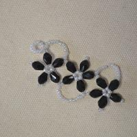 How to Make a Pair of Black Beaded Flower Drop Earrings at Home