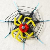 How to Make an Artificial Black Spider Web and a Yellow Spider for Halloween Decoration
