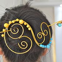 How to Make a Vintage Gold Wire Wrapped Hairpin with Beads Decorated